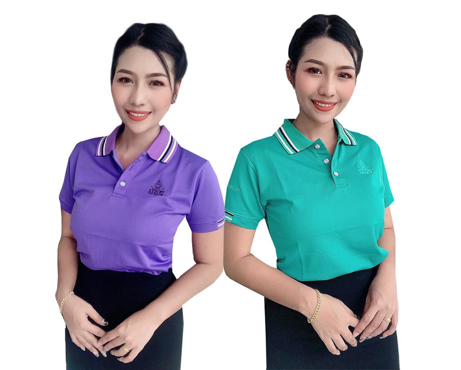 เสื้อสปอร์ตปักตราสัญลักษณ์มสธ.สีม่วงและสีเขียว